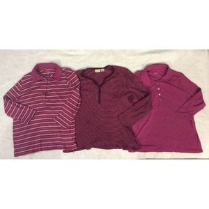 Lot of 3 Womens 3/4 Long Sleeve Shirt 1X Purple